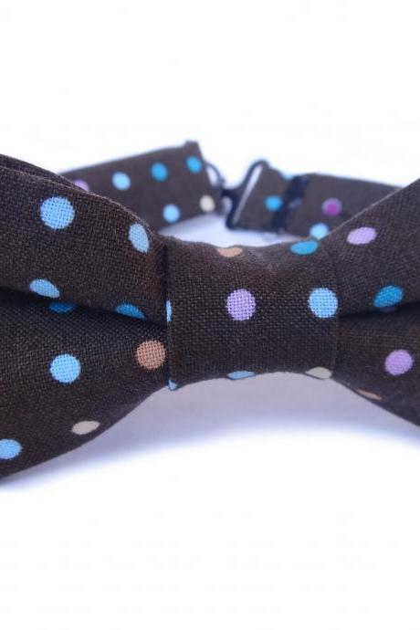 Bow Tie - Brown with Polka Dots Bowtie for Boys