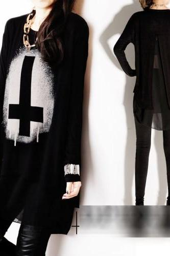 Black Blouse Long Top Cross Punk