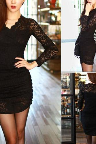 Sexy V-Neck Long Sleeve Slim Fit Package Hip Lace Dress [Gzxy0464]