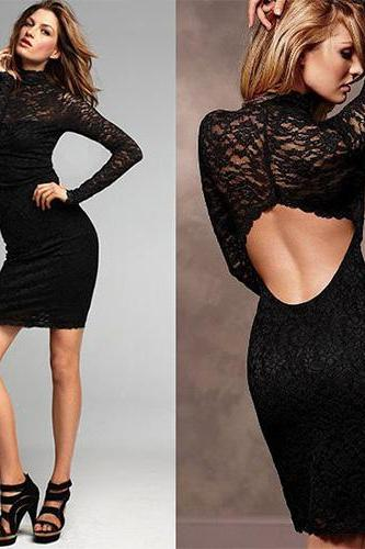 Sexy Backless Hollow Out Lace Slim Fit Package Hip Dress [Gzxy0489]