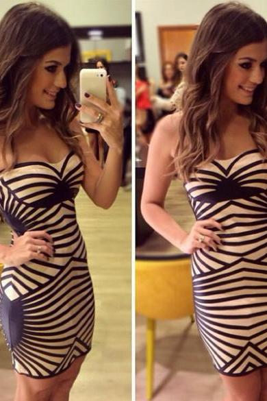 Fashion Stripe Strapless Women Dress Party Dress