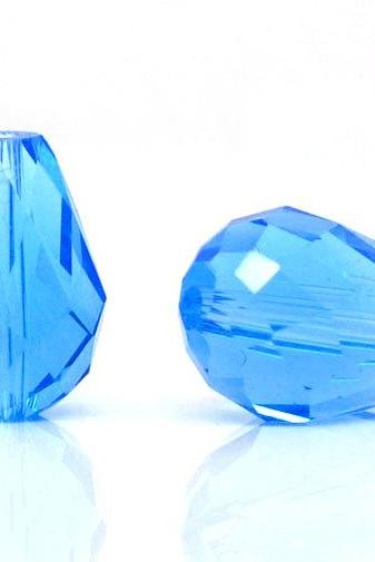 AQUA-blue Crystal Quartz Faceted Teardrop Beads 5500 11x8mm, sold per packet of 30