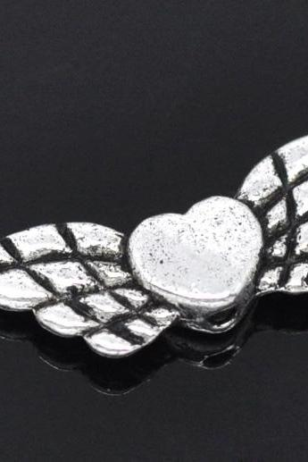 Wholesale - Silver Tone Heart& Wing Spacer Beads 22x9mm, sold per packet of 30