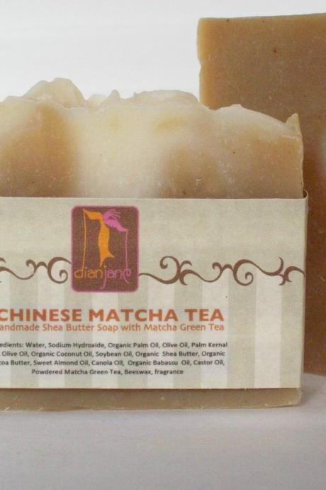 Chinese Matcha Green Tea Shea Butter Soap 6oz Bars with Cocoa Butter