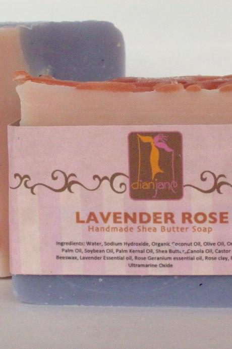 Lavender Rose - Luxurious Shea Butter Soap with Rose Clay 6 oz Big Bar