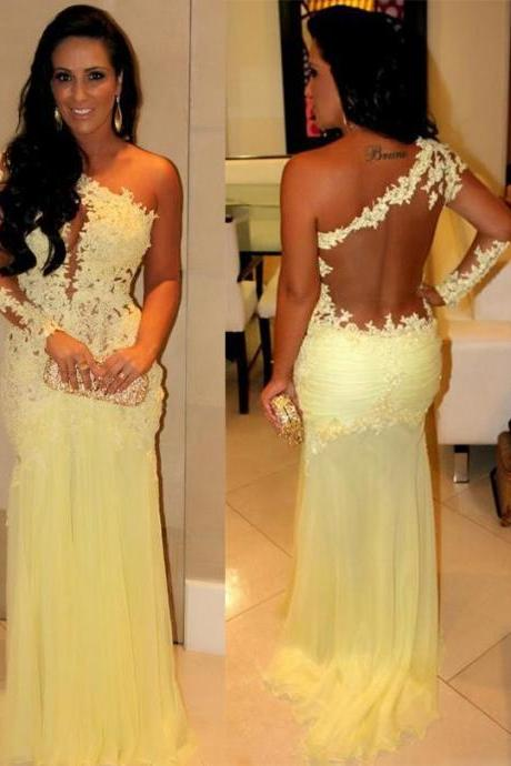 Pd427 Charming Prom Dress,One-Shoulder Prom Dress,Appliques Prom Dress,Long Sleeve Prom Dress,Mermaid Prom Dress
