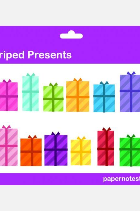 Striped Presents - Digital Clip Art Set