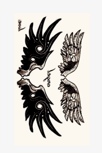 4Pcs Gothic Wings Tattoo Stickers