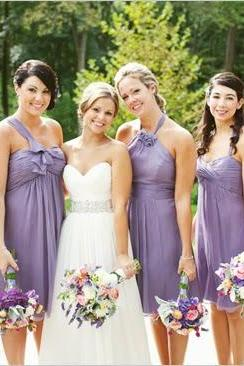 New listing 2016 Sweetheart variety shallow shoulder purple chiffon bridesmaid dress bridesmaid dresses