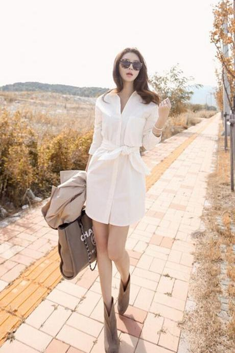 Long Sleeved Cotton White Shirt Small Fresh Couture Dress Shirt HGEH