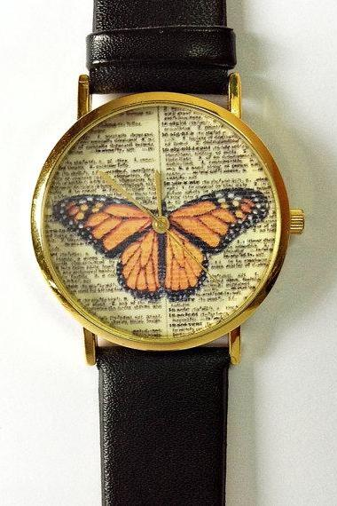 Butterfly Watch , Vintage Dictionary Print, Vintage Style Leather Watch, Women Watches, Unisex , Boyfriend Watch, Orange Butterlfy, Black