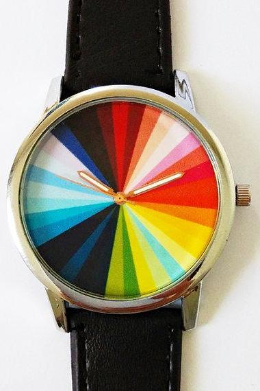 Color Wheel Watch , Vintage Style Leather Watch, Mens Watch, Women Watches, Boyfriend Watch