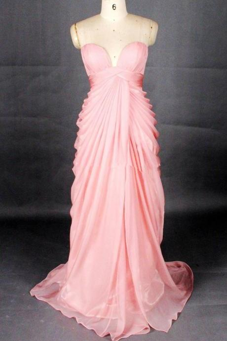 Elegant Peach Pink Sweetheart Long Prom Dresses 2015, Formal Dresses 2015, Evening Gowns, Wedding Party Dresses
