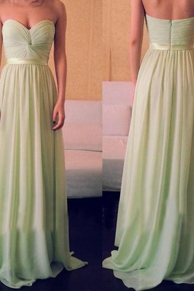 Hot Sales Sweetheart Cheap Long Prom Dress,Custom Made Sage Chiffon Bridesmaid Dress,A Line Floor Length Graduation Dress,Bridesmaid Dresses,Communion Dress