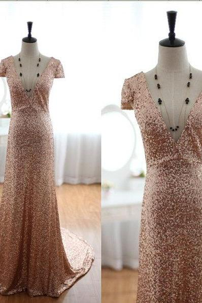 High Quality Dazzling Deep V Neck Short Sleeves Gold Sequined Sexy Bridal Wedding Dress Chapel Train Royal Evening Women Dresses,Long Prom Dress,Graduation Dress
