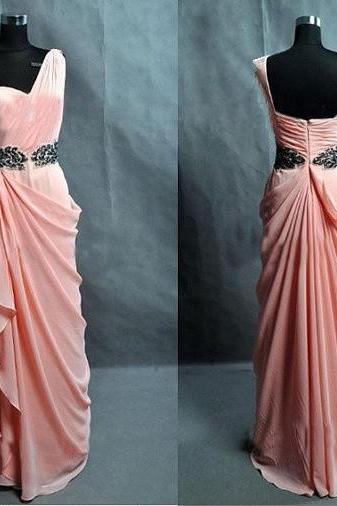 Delicate One-Shoulder Peach Pink Chiffon Floor Length Part Dresses, Prom Dresses, Prom Dresses 2015, Dresses