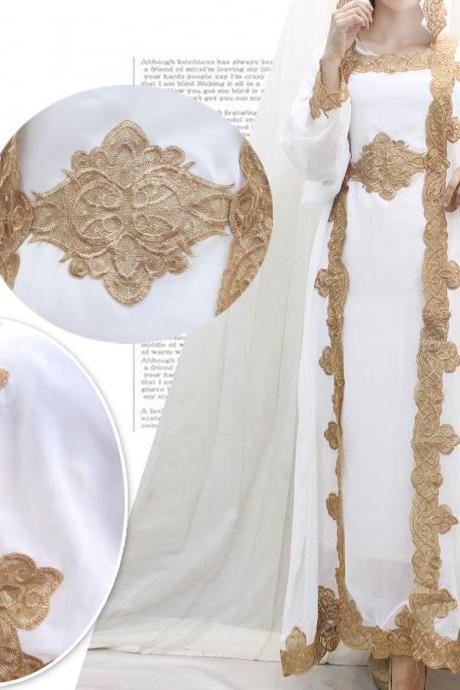 White Caftan Dress Handmade Embroidery for Wedding Bridesmaid Summer Party Kaftan Maxi Dress