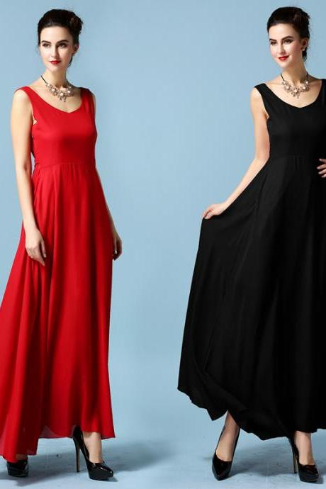 Elegant V-neck Chiffon Maxi Dress