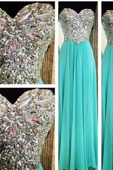 2016 Real Made Beading Prom Dresses, Sweetheart Floor-Length Evening Dresses, Prom Dresses,Chiffon Sequins Evening Dresses,Prom Dresses On Sale