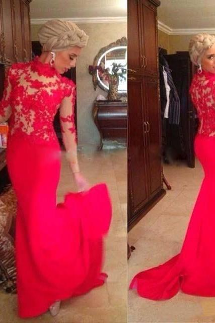 Elegant Vintage Lace Mermaid 2015 Evening Dresses Long Sleeves Red Appliques Satin Formal Evening Gowns Fashionable Vestidos