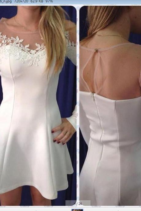 Classy And Chic White Lace Patchwork Design Dress