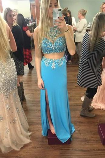 2016 Sequins Beading Prom Dresses, V-Neck Floor-Length Prom Dresses, Two Pieces Chiffon Evening Dresses, Evening Dresses On Sale