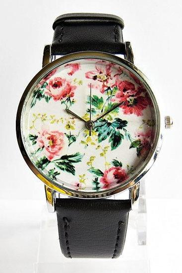 Spring Time Floral Watch, Vintage Style Leather Watch, Women Watches, Unisex Watch, Boyfriend Watch