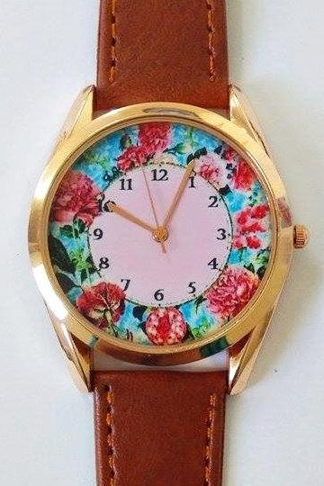 Pink Hydrangeas Floral Watch, Vintage Style Leather Watch, Women Watches, Unisex Watch, Boyfriend Watch