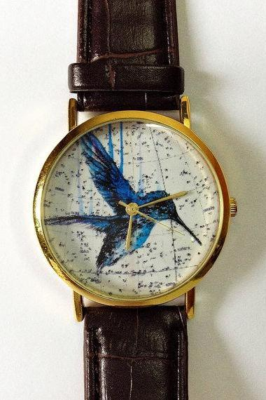Vintage Hummingbird Watch, Vintage Style Leather Watch, Vintage Map Print, Women Watches, Mens Watch, Boyfriend Watch, Unisex, Brown