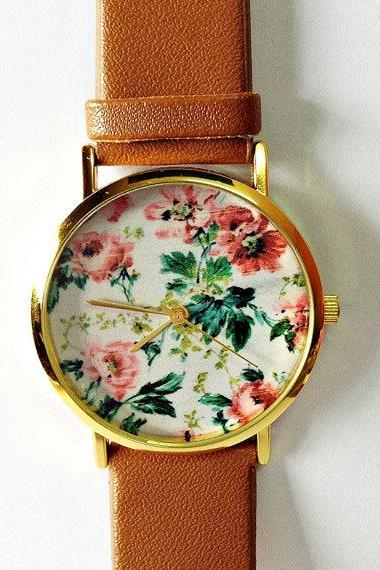 Original Freeforme Floral Watch, Vintage Style Leather Watch, Women Watches, Unisex Watch, Boyfriend Watch, Black, Tan