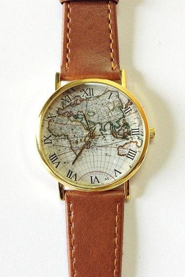 Map Watch, Vintage Style Leather Watch, Women Watches,, Boyfriend Watch, World Map, Tan