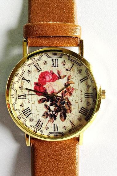 Floral Watch, Vintage Style Leather Watch, Women Watches, Boyfriend Watch