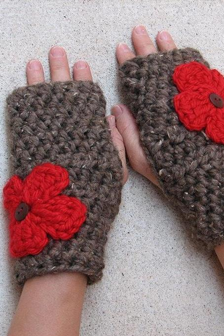 Fingerless gloves with Red Flowers , Crochet Pattern PDF, Quick and Easy, Great for Beginners, Pattern No. 15