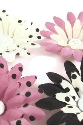 Magnets - Bottle Cap Decorative Magnets, Black, White, Pink Polka Dot Flowers with Buttons, Bottle Cap Art
