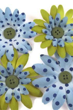 Magnets - Polka Dot Flower Magnets, Decorative Bottle Cap Magnets, Blue Green Flower Refrigerator Magnets