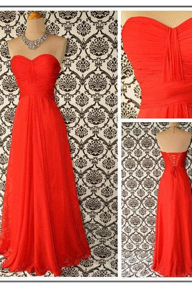 A Line Orange Chiffon Ruffles Long Bridesmaid Dress, Sweetheart Elegant Bodice Floor Length Wedding Party Dress, Mother Of The Bride Dress,Communion Dress,Graduation Dress