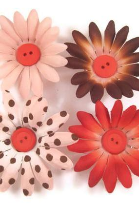 Magnets - Flower Magnets, Decorative Bottle Cap Magnets, Pink, Red, Brown Polka Dot