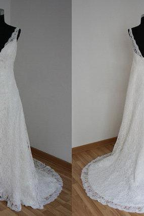Off The Shoulder White Lace V Neck Wedding Dress/ Chapel Train Open Back Beach Bridal Wedding Gown/ A line Designer Cheap Custom Made Bridal Wedding Dresses,