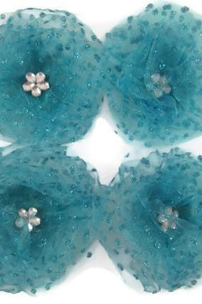 Magnets - Aqua Blue Tulle Flowers, Ocean Blue, Decorative Magnets