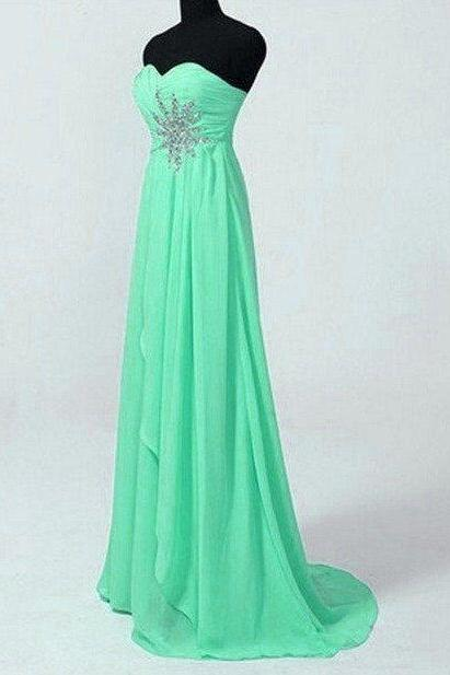 Simple Chiffon Prom Dress with Beadings, Prom Dresses 2015, Prom Gown 2015, Evening Dresses 2015