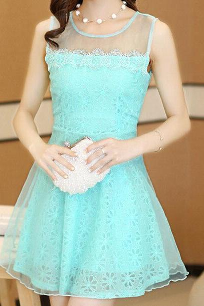 Slim lace stitching sleeveless vest dress VC32009MN