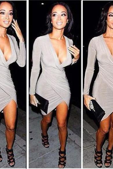 New Women's Super Sexy Long Sleeve Deep-V Neck Ladies Party Evening Pencil Dress