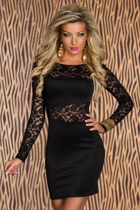 Club Dance Wear Sexy Bodycon Lace Spliced Slim Fitted Long Sleeve Dress