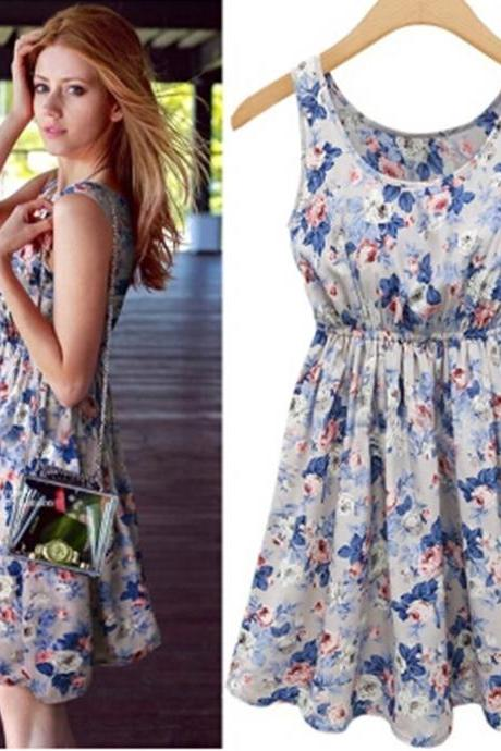 Slim Chiffon Sleeveless One-Piece Dress Female Skirt Pleated Skirt Preppy Style Short Print Summer Day Dress