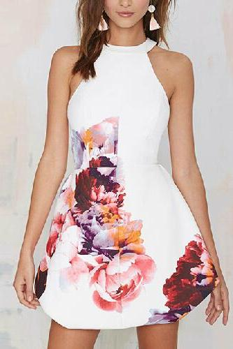 White Sleeveless Floral Print Dress