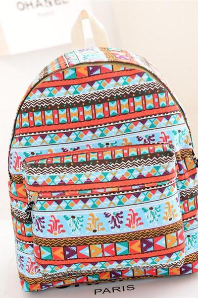 Knitted Stripes And Floral Backpack