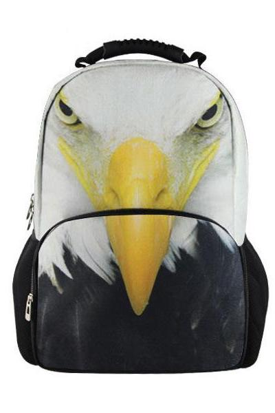 Eagle Printed Backpack In Black