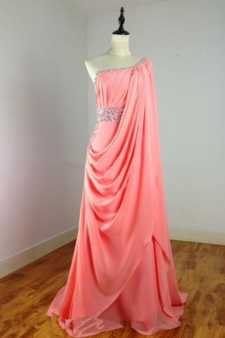 Pretty Handmade Croal One Shoulder Bridesmaid Dresses with Beadings,Coral Prom Dresses, Coral Bridesmaid Dresses
