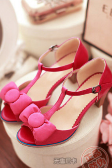 Fashion shoes bow fish head thick with non-slip buckle sandals T--rose red