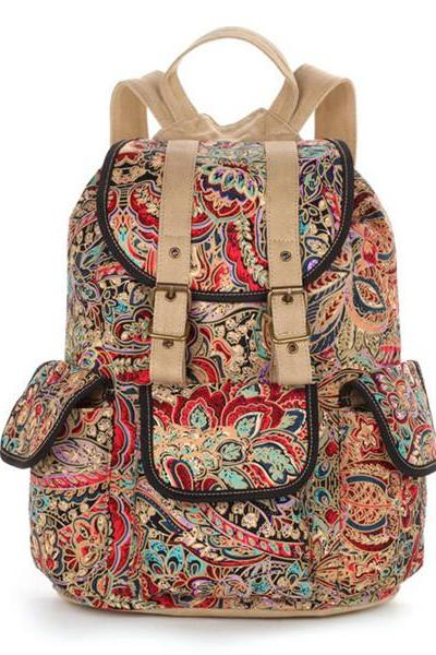 Floral Printed Backpack In Khaki